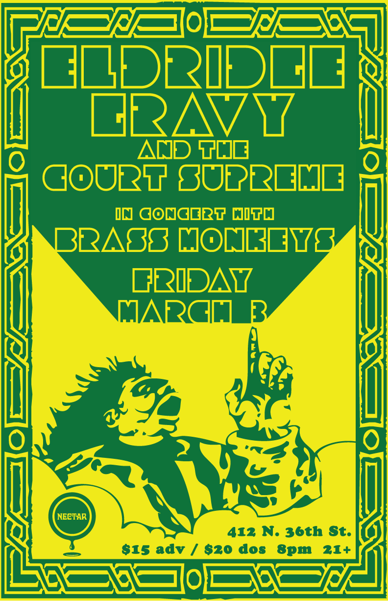 Posters from past Eldridge Gravy & the Court Supreme shows